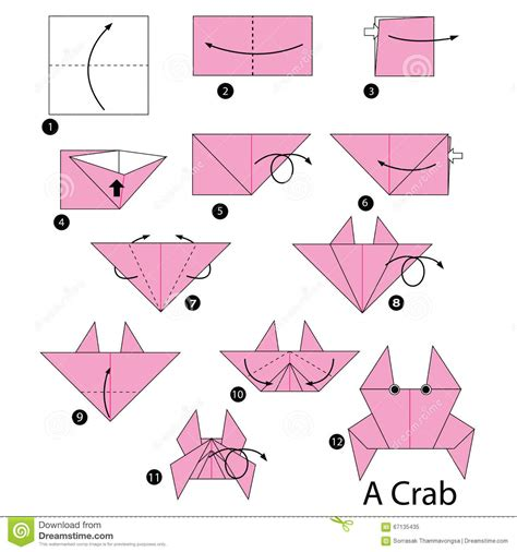Steps To Make Origami Animals - step by step how to make origami crab stock