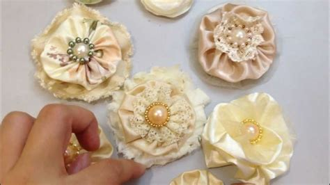 Handmade Material Flowers - handmade fabric flowers for scrapbooking