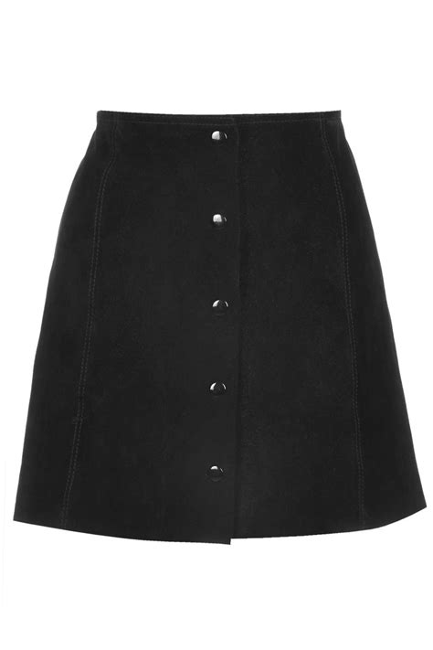 Button Front A Line Skirt suede button front a line skirt