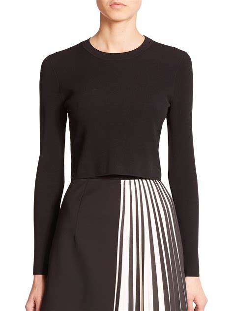 cropped sweater proenza schouler cropped crewneck sweater in black lyst