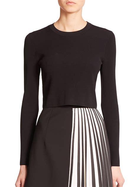 cropped sweater lyst proenza schouler cropped crewneck sweater in black