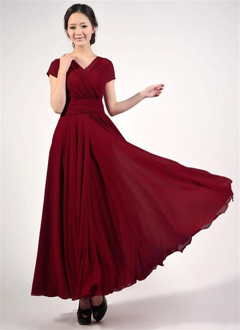 Nr Maxi Dress Gamis Longdress Baby cap sleeve maroon maxi dress with v neck ruched waist