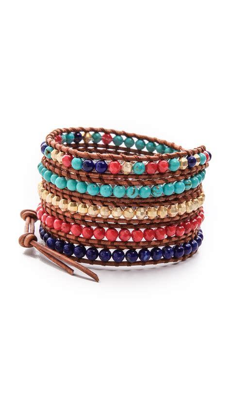 beaded wrap bracelets chan luu multicolor beaded wrap bracelet lyst