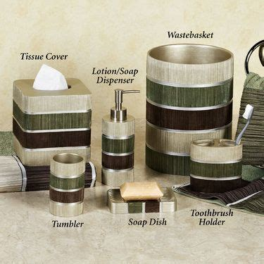 green and brown bathroom accessories modern line striped bath accessories soaps towels