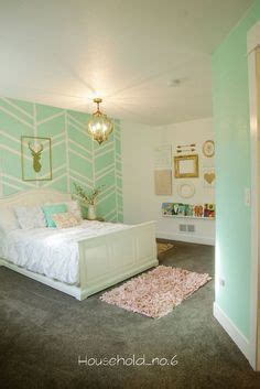 schlafzimmer mint mint and gold bedroom harringbone wall
