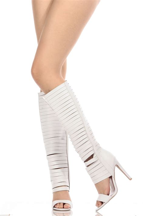 knee high strappy heels white faux leather strappy knee high gladiator heels