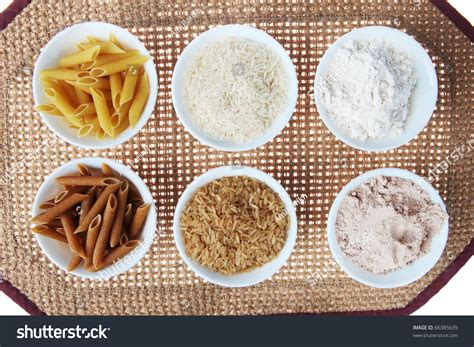 whole grain rice vs brown rice whole wheat brown rice versus white stock photo 66385639