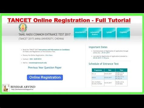 online tutorial registration how to apply tancet online registration full tutorial