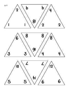 triangle multiplication flash card template math triangle flash cards fact families addition and