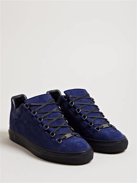 mens balenciaga arena sneakers balenciaga s arena trainers midnight blue menstyle
