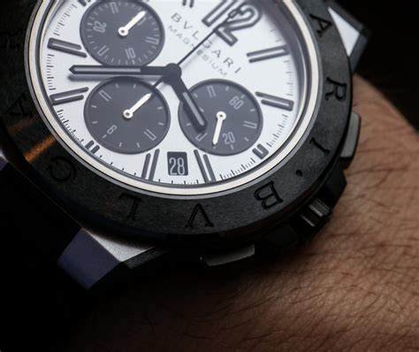 Bvlgari Diaogono Magnesium Rubber Silver Black bulgari diagono magnesium chronograph watches on