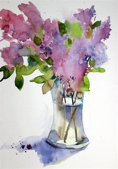 s watercolors apple blossom