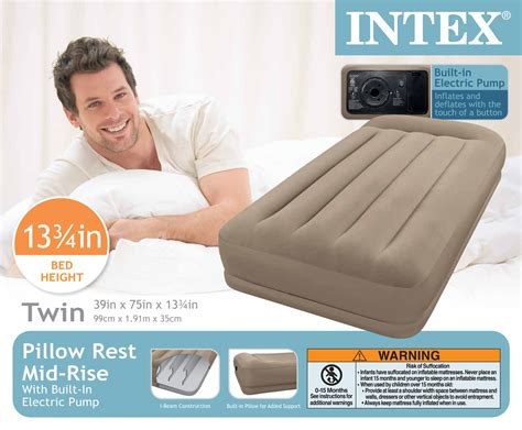 intex pillow rest mid rise air bed mattress airbed w built in 67741e ebay