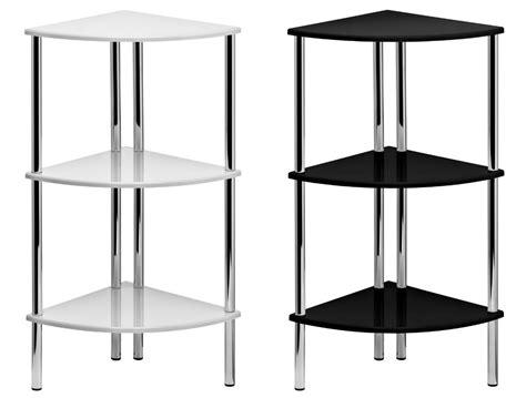 Corner Tier Shelf by 78cm High Gloss Corner Shelf Display Unit 3 Tier Shelves Chrome Finish Frame Ebay