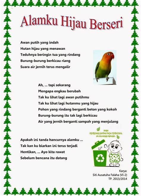 membuat puisi untuk anak sd contoh puisi tentang lingkungan hidup 4 bait bergambar