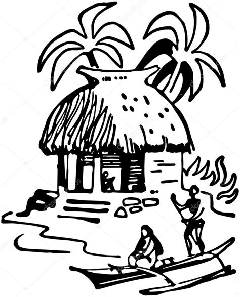 tiki hut drawing tiki hut coloring page coloring pages