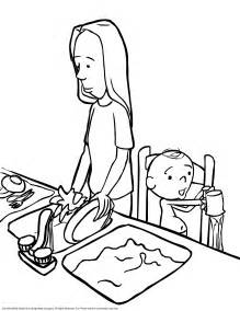 Cleaning Dishes With Child Coloring Page sketch template
