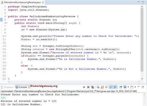 java program for reverse pattern palindrome program in java