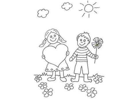 imagenes de amor y amistad infantiles para colorear dibujo de ni 241 os en san valent 237 n para pintar