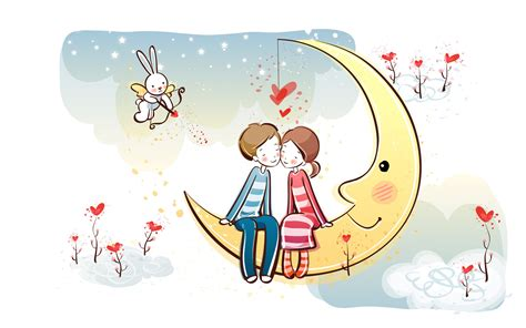 wallpaper sweet couple cartoon valentine s day wallpaper valentine s day cartoon