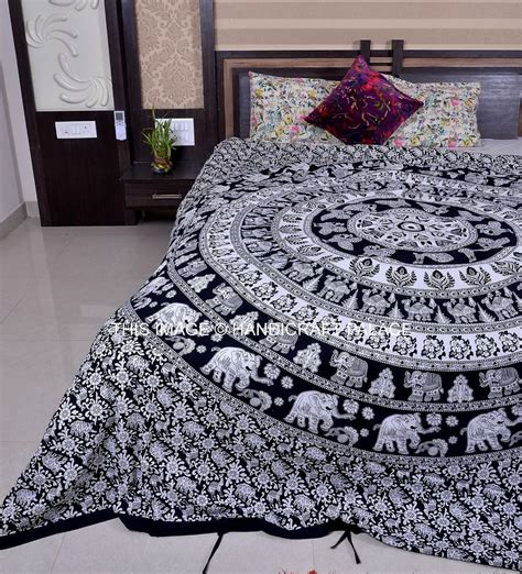 ethnic indian elephant mandala print bedding duvet quilt