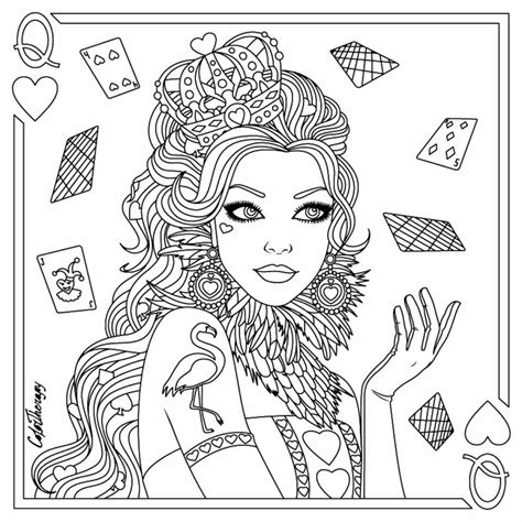 coloring page queen of hearts queen of hearts coloring page zentangles adult