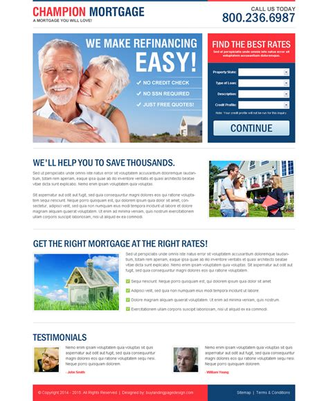 Effective And Best Mortgage Business Landing Pages 2017 Free Lead Capture Page Templates