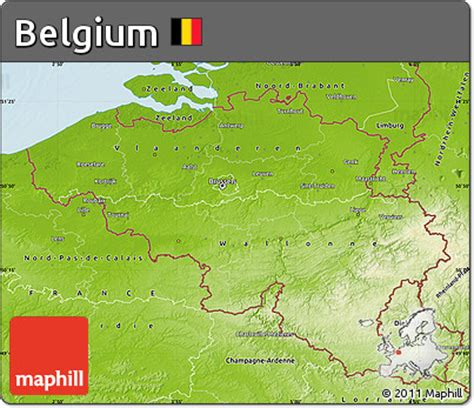 geographical map of belgium free physical map of belgium