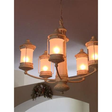 Light House Chandelier With 5 Frosted Globe Lanterns Lighthouse Chandelier