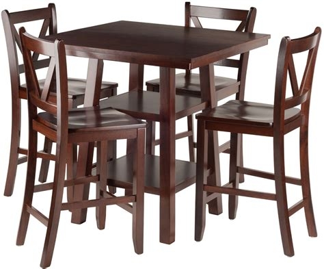 5 Counter Height Dining Set With Stools by Orlando 5 Walnut Counter Height Dining Set With V