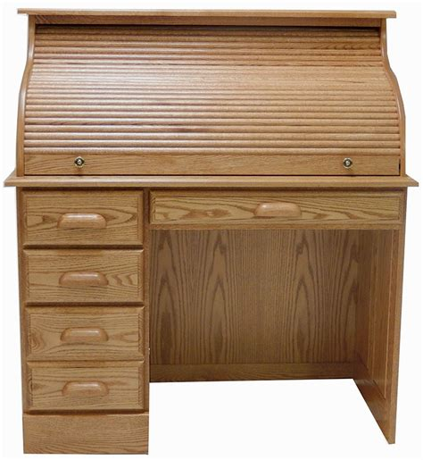 solid oak roll top desk 42 quot w solid oak single pedestal roll top laptop desk