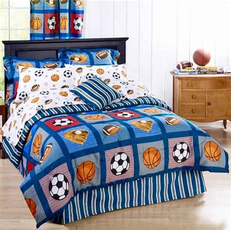 All State 3pc Quilt Bed Set Boys Sports Football Comforter Ebay All Sports Boys Bedding Football Basketball Soccer Balls Baseball Comforter Set Ebay