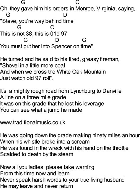 lyrics 97s bluegrass songs with chords wreck of the 97