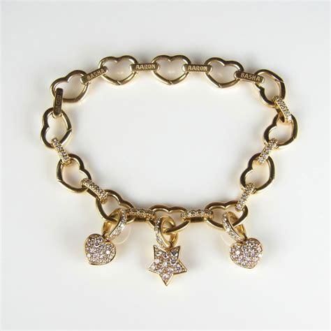 aaron basha 18 ct yellow gold charm bracelet