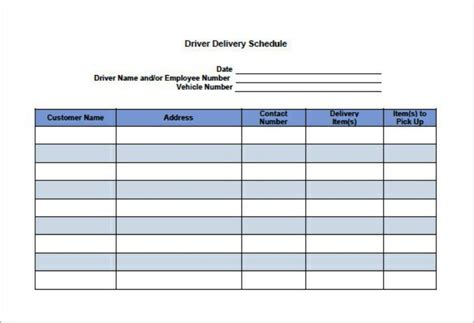 basic driver delivery schedule template download templatezet