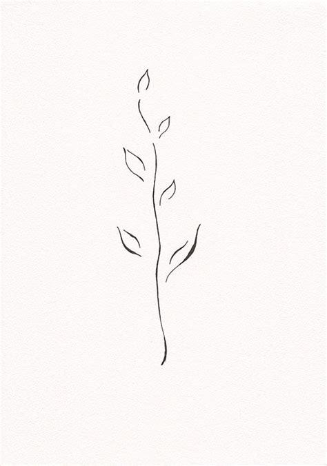 minimalist leaf tattoo items similar to very minimalist branch drawing black and