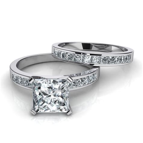 princess cut channel set engagement ring wedding band