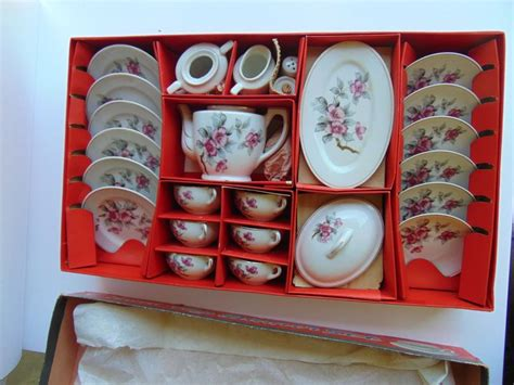details  vintage childs toy tea set porcelain
