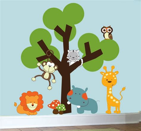 childrens nursery decals animal jungle wall vinyl wall tree decal 129 00 via etsy
