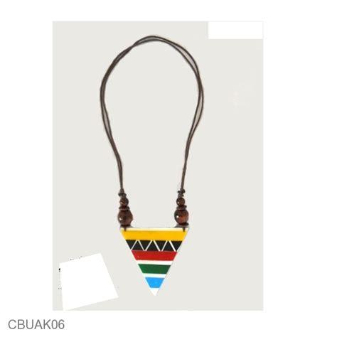 Kalung Tali Kayu Bulat Resin kalung resin tali tarik motif segitiga pelangi kalung