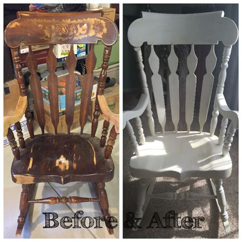 solid wood rocking chair restored painted white with