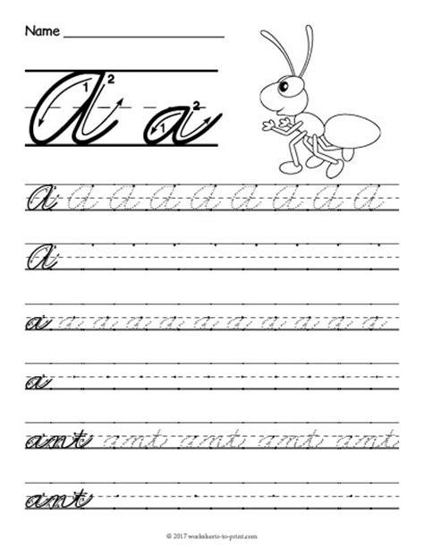 cursive handwriting worksheets printable a z cursive a worksheet