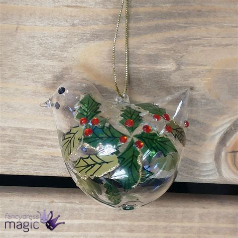 gisela graham glass bird glitter hanging christmas tree