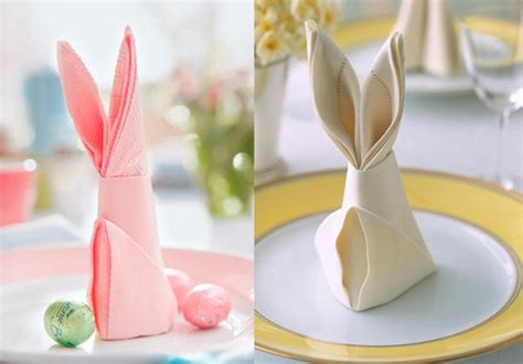 Easter Paper Napkin Folding - easter bunny from napkins diy is