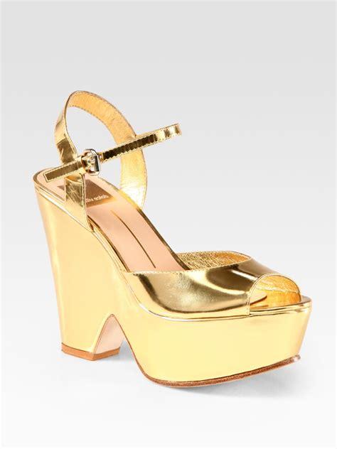 Sandal Platform Wedges Slop Gold lyst dolce vita jacobi metallic leather platform sandals in metallic