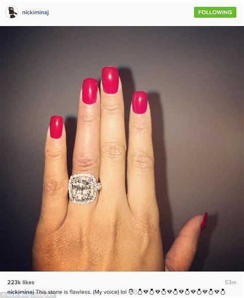 nicki minaj shows off another massive diamond ring from nicki minaj promises to keep boyfriend meek mill out of