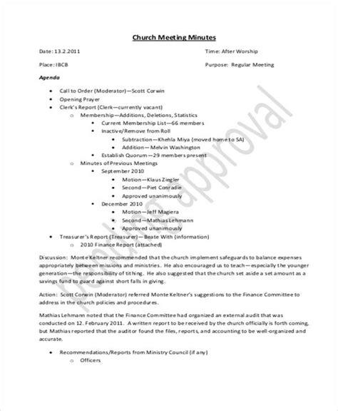 Church Meeting Minutes Template 11 Church Meeting Minutes Templates Free Premium Templates