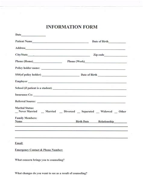 customer intake form template client intake info form pictures