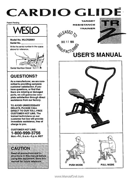 Weslo Cardio Glide Tr2 | English Manual