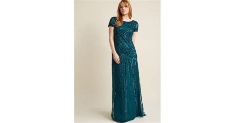Maxi Viona lyst papell sequined vision maxi dress in green
